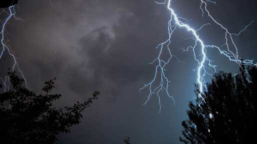 stormy sky with lightning strike